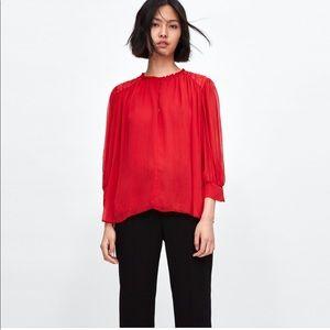 Zara red wrinkled look blouse